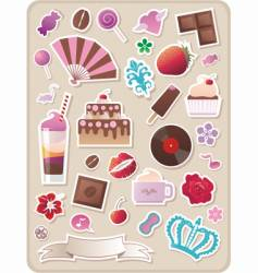 collection of cute sweet stickers vector image