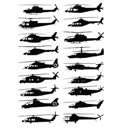 military and civilian helicopter silhouettes vector image