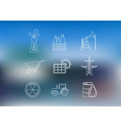 Outline industrial icons set vector image vector image