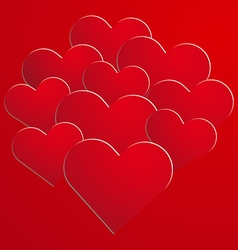 Red paper hearts on background vector image vector image