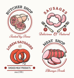 sausages logo set vector image vector image