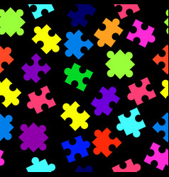 seamless pattern with colorful pieces of puzzle on vector image vector image
