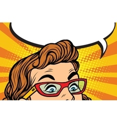 Surprised eyes with glasses girl vector image