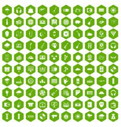 100 music festival icons hexagon green vector image