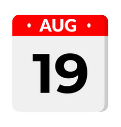 19 august calendar icon vector