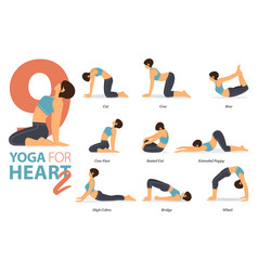 9 yoga poses for heart concept vector image