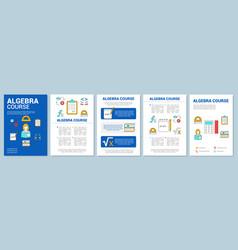 Algebra course math lessons brochure template vector