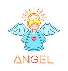 Angel color logo line icon isolated on vector