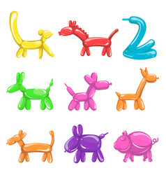Animal figures made balloons poster on white vector