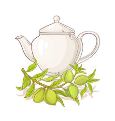 apricot tea in teapot vector image