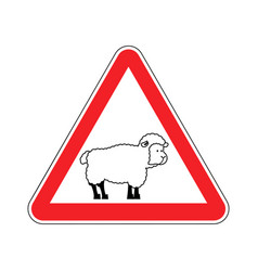 Attention of sheep caution farm is an animal red vector