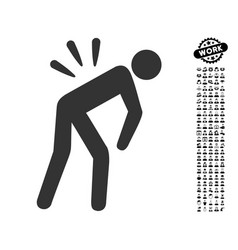 Backache icon with work bonus vector