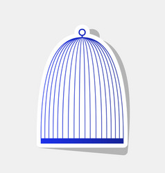 Bird cage sign new year bluish icon with vector