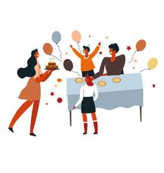 Birthday party children around table balloons vector