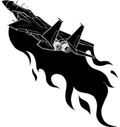 Black silhouette military fighter jets isolated vector