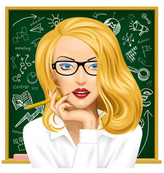 Blonde business woman in glasses near the vector