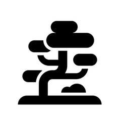 Bonsai chinese new year related solid style icon vector