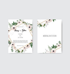 Botanical wedding invitation card template design vector