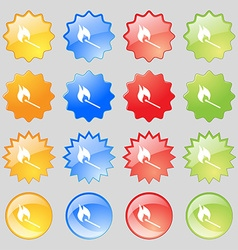 Burning match icon sign Big set of 16 colorful vector