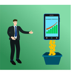 businessman success profit money with smartphone vector image