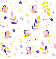 Butterflies flowers seamless pattern vector