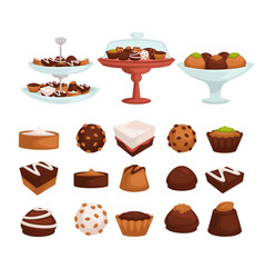 Cakes and cookies or candies with chocolate or vector
