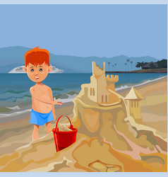 Cartoon boy building sand castle on tropical beach vector