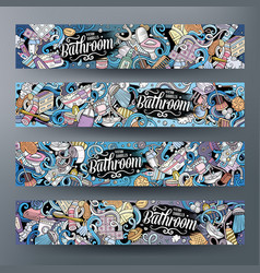 Cartoon doodles bathroom horizontal banners vector