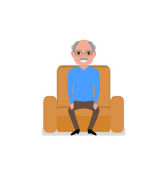 cartoon grandfather sitting in a armchair vector image