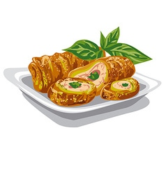 chicken rolls with salad vector image