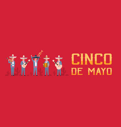 Cinco de mayo festival poster with group of vector