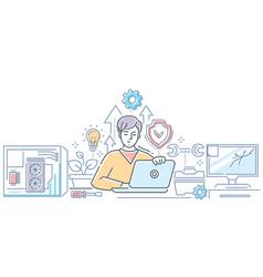Computer service - modern line design style vector