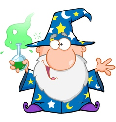 Crazy Wizard Holding A Green Magic Potion vector image