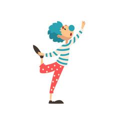 Cute clown cartoon character man performing at vector