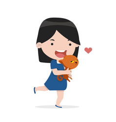 cute girl hug cat with love vector image