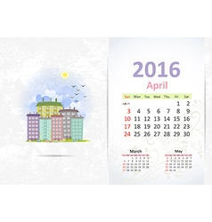 Cute sweet cityscape calendar for 2016 April vector image