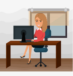 elegant businesswoman in the office scene vector image