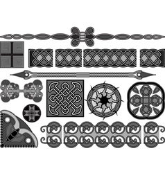 Elements of design in medieval celtic style vector image