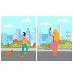 female with dog and smartphone in city vector image