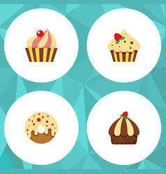 Flat cake set of sweetmeat confectionery vector