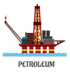 Flat oil offshore platform in the ocean vector image