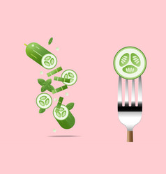 fresh cucumber on fork with flying cucumbers vector image