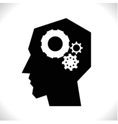 gear in head pictograph vector image