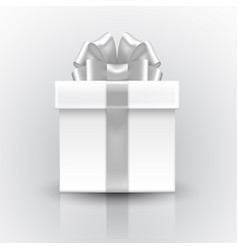 gift box with a bow silver volume realistic 3d vector image