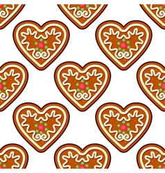 Gingerbread hearts seamless pattern background vector image
