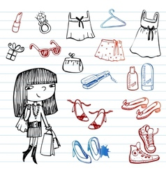 Girl of fashion doodle set vector image