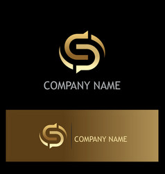 gold letter s circle logo vector image