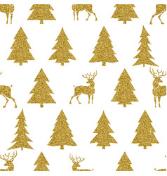 Golden christmas tree and deer on white background vector