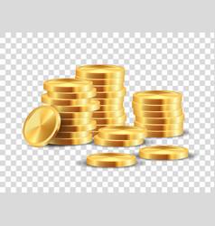 Golden coin stack realistic dollar coins vector