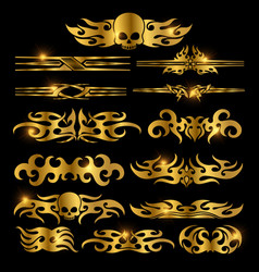 Golden racing car decoration vector